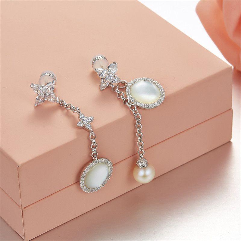 SLJELY 925 Sterling Silver Mother of Pearl Micro Cubic Zirconia Star Drop Earrings for Women Elegant
