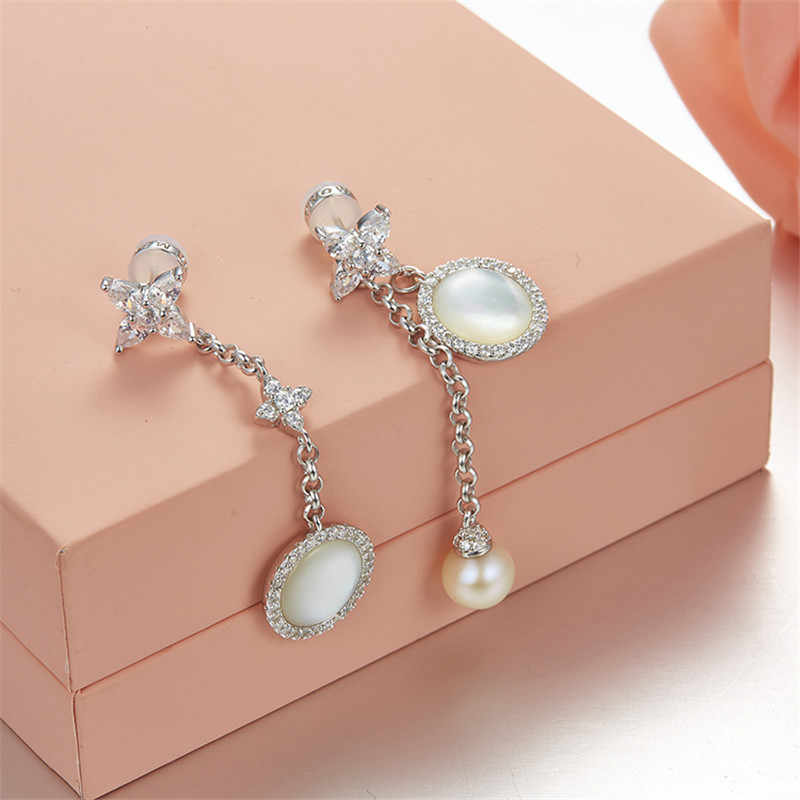SLJELY 925 Sterling Silver Mother of Pearl Micro Cubic Zirconia Star Drop Earrings for Women Elegant Trendy Brand Design Jewelry