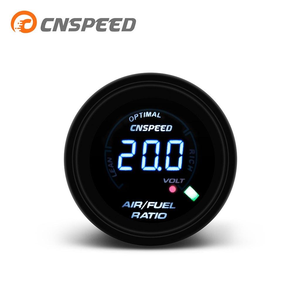 משלוח חינם CNSPEED 52mm דיגיטלי אוטומטי אוויר דלק מד יחס אוויר דלק יחס מד צר Smoken עדשת רכב מד