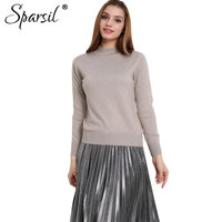 Sparsil Women S Autumn Half Height O Neck Cashmere Blend Knitted Pullover Rib Sleeve 10 Colors