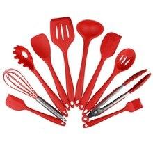 Neue 10 Stücke Silikonküchengeräte Kochen Utensil Set Spachtel Löffel Schöpfen Spaghetti Server Geschlitzt Turner Kochen Werkzeug #229565