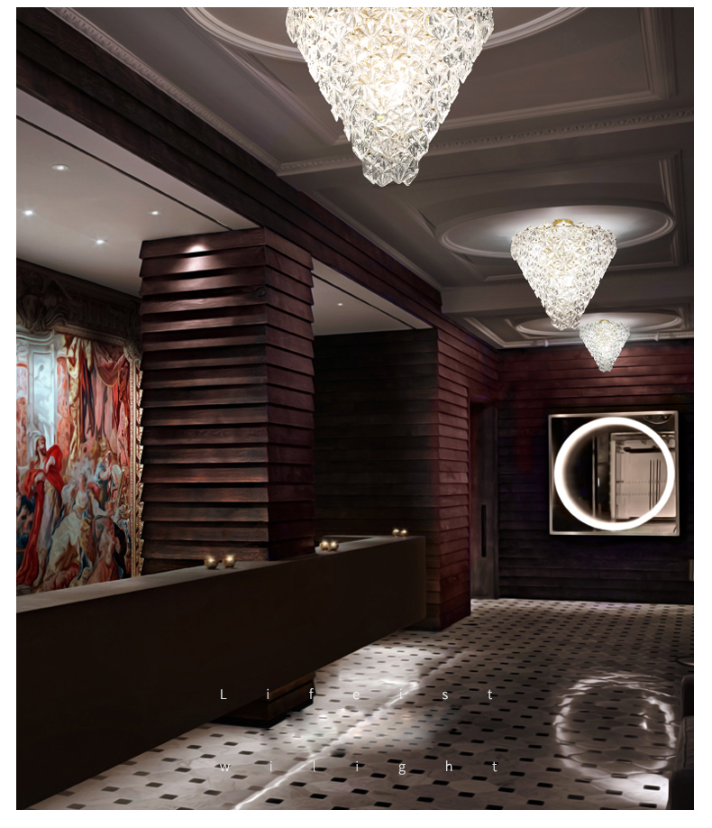 Luces de techo de cristal modernas LED lámpara de techo de flor de nieve americana iluminación interior para el hogar lámpara de comedor - 4