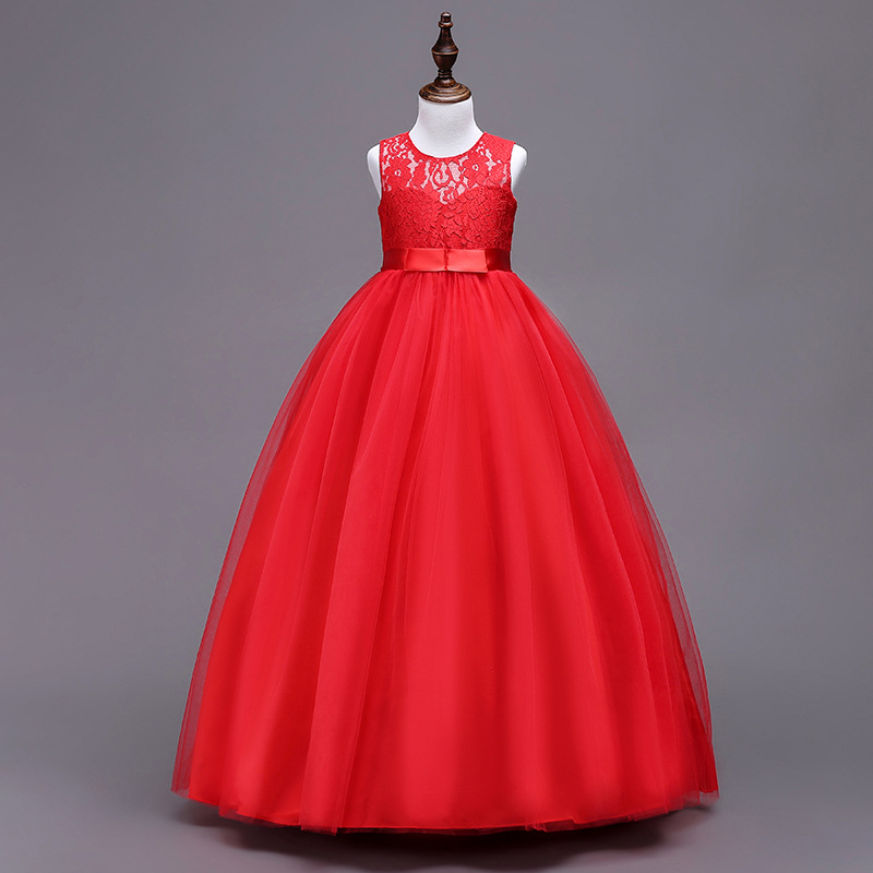 Teenagers Girls Lace Dresses Girls New Year Dress Big Girl Red Prom Dress for Wedding and Party Kids Children Clothing 4-15 Yrs 2017 girls princess dresses kids bridesmaids clothes long dress children red prom dress for party and wedding 4 5 6 7 8 9 10 yrs
