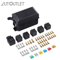 AUTOUTLET Fuse Box Auto 6 Relay Block Holders 5 Road Fit For Car & Trunk ATV Insurance Auto Replacement Parts New