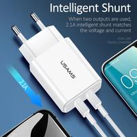 USAMS 5V/2.1A USB Charger Mobile Phone Charger for iPhone Samsung 1 2 USB EU/US Plug Wall Charger iOS/Android Phone Chargers