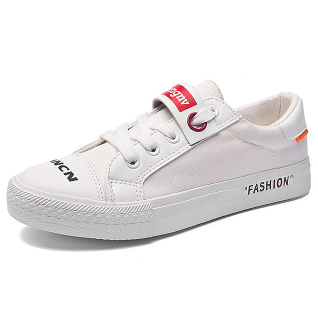 Brand 2018 White Sneakers Women Casual Canvas Shoes Female Summer Lace-Up  Flat Trainers Fashion zapatillas mujer Vulcanize Shoes 4fb9f754b995
