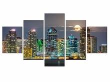 Wholesale Frame Wall Decorations 5pcs / Set Modern Mural city landscape Canvas Print Artist Decoration/XC-city-162
