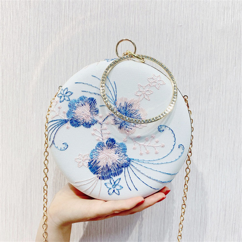 Handbags Shoulder-Bag Embroidery Evening-Bag Casual-Day-Clutch Printed Party Elegant