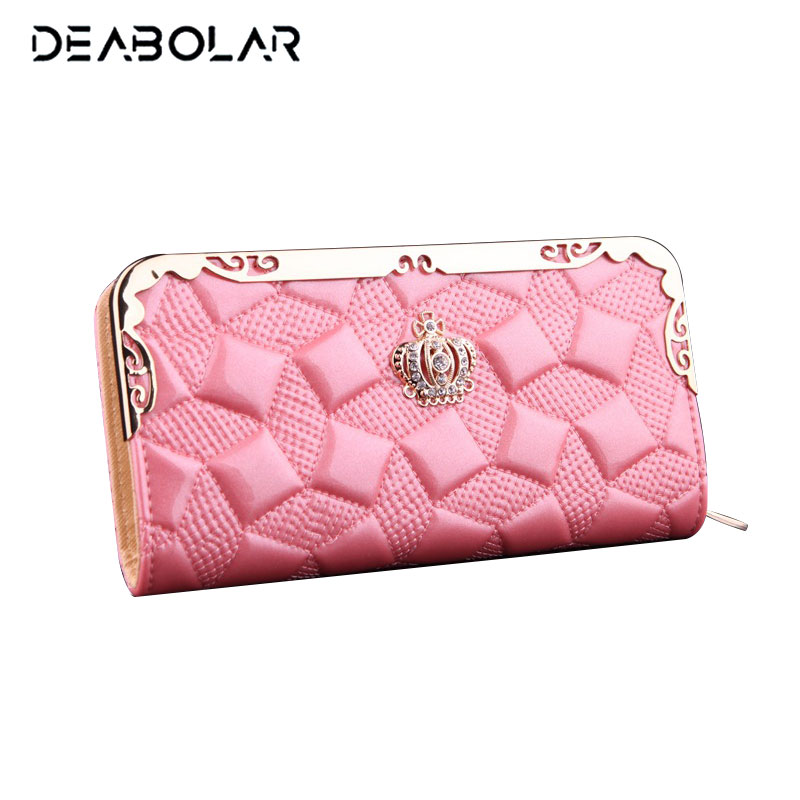 Luxury Women Crown Purse Fashion Leather Wallet Female Brand Clutch Coin Purse Lady Card Holder Money Bag with Phone Pocket 2017 purse wallet big capacity female famous brand card holders cellphone pocket gifts for women money bag clutch passport bags