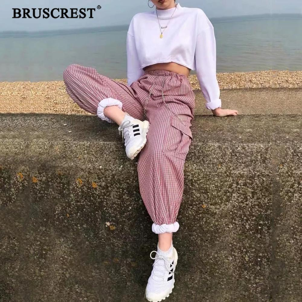 2019 Summer High Waist cargo   pants   women plaid   Capris   Chain Joggers   Pants   Trousers Women plus size sweatpants streetwear Korean