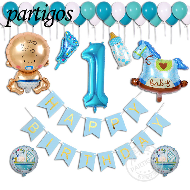 38pcs Lot Boy Girl 1 Year Old Happy Birthday Party Decoration Letter Latex Flag Banner
