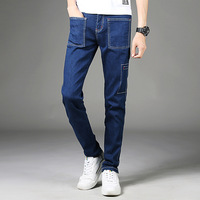 Designer Blue Multi Pockets Jeans Denim Overalls Men Light Weight Pensil Pants Mid Stripe Stretch Mens
