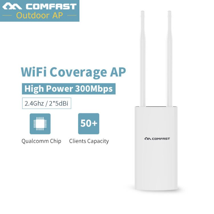 300Mbps High Power Wifi Extender Outdoor Wifi AP Waterproof Wifi Repeater Router 2.4G Dual 5dbi External Antenna POE 802.11b/g/n