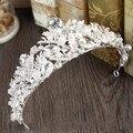 Barroco Shiny Rhinestone Nupcial Tiaras Pelo de la Boda Accesorios de Plata Crystal Pageant Prom Crown Mujeres Ornamentos Del Pelo Del Tocado