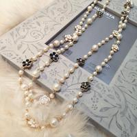 Korean Jewelry Winter Flower Sweater Chain Long Pearl Necklace Pendant Cc Jewelry Double Female