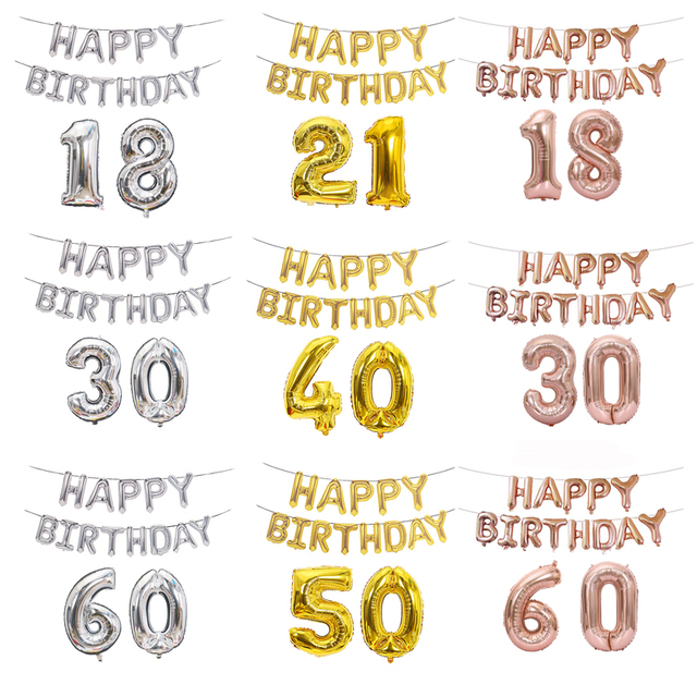 15pcs Set 40 Inch Number 16 English Character Happy Birthday Balloons Aluminum Foil Balloon Dad Mom Party Decor