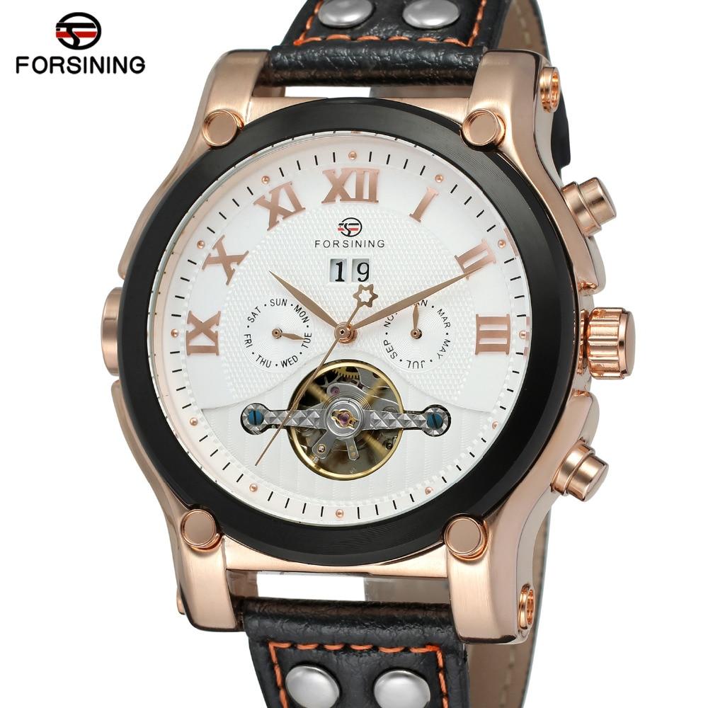 ФОТО Forsining Mens Watches Original Automatic Movement Tourbillon Complete Calendar Wristwatch Color Black Watch Brands FSG588M3