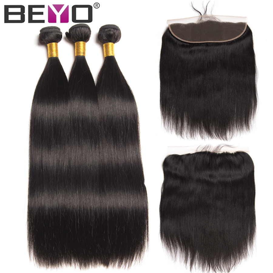 Beyo Ear To Ear Lace Frontal With Bundles Peruvian Straight Hair Bundles With Closure Human Hair