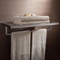 Wall mounted Bathroom Brushed Nickel stainless steel shelf Double deck Towel rack holder Bathroom accessories