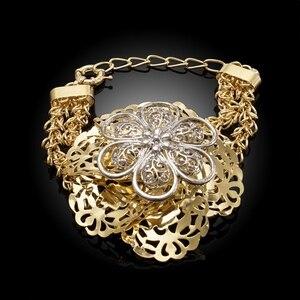 Image 4 - Yulaili Pageantry dekoracyjny wzór Fashion Design zestaw biżuterii dubajskiej duże kwiatowe kształty naszyjnik kolczyki Bracelent Ring