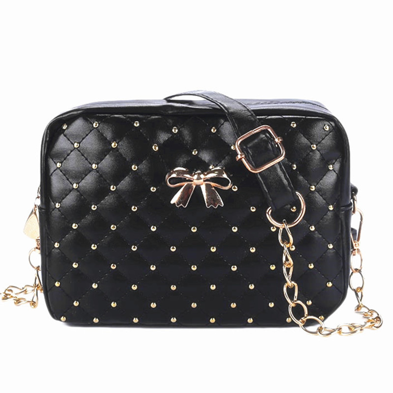 2017 Fashion Women Messenger Bags Bow Rivet Chain Shoulder Bag phone telecommunication PU Leather functional Crossbody bags hobo
