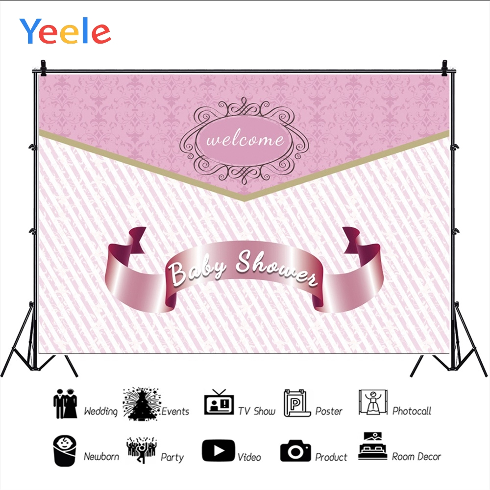 Yeele Baby Shower Princess Girl Pink New Life Crown Photography Backdrops Personalized Photographic Backgrounds For Photo Studio in Background from Consumer Electronics