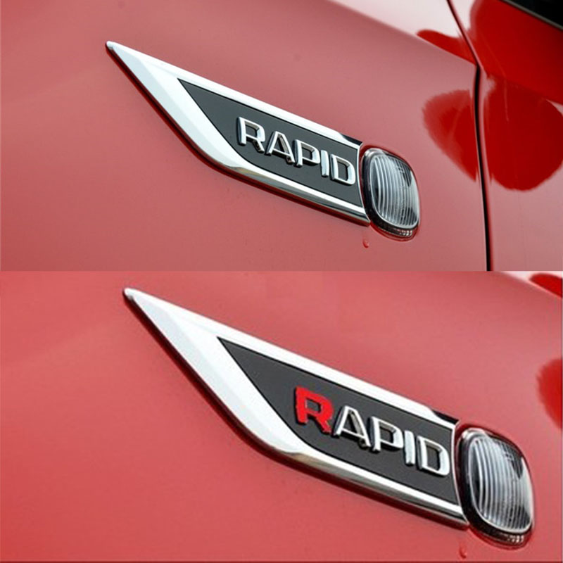 2 x Skoda Set 90 80mm Front Rear Hood Trunk Emblem Badge Glossy Black