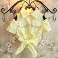 Новые Девушки Летние Желтый Росы Ногтей Шарик Галстук без бретелек футболка (можете выбрать размер)