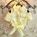 Retail Nuevas Chicas camiseta Amarilla para Niñas Hombro Rocío Grano Del Clavo