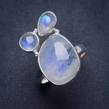 a7c34c2f3b7a Anillo de Plata de Ley 925 único hecho a mano piedra lunar Arco Iris  Natural 7,25 Y4201
