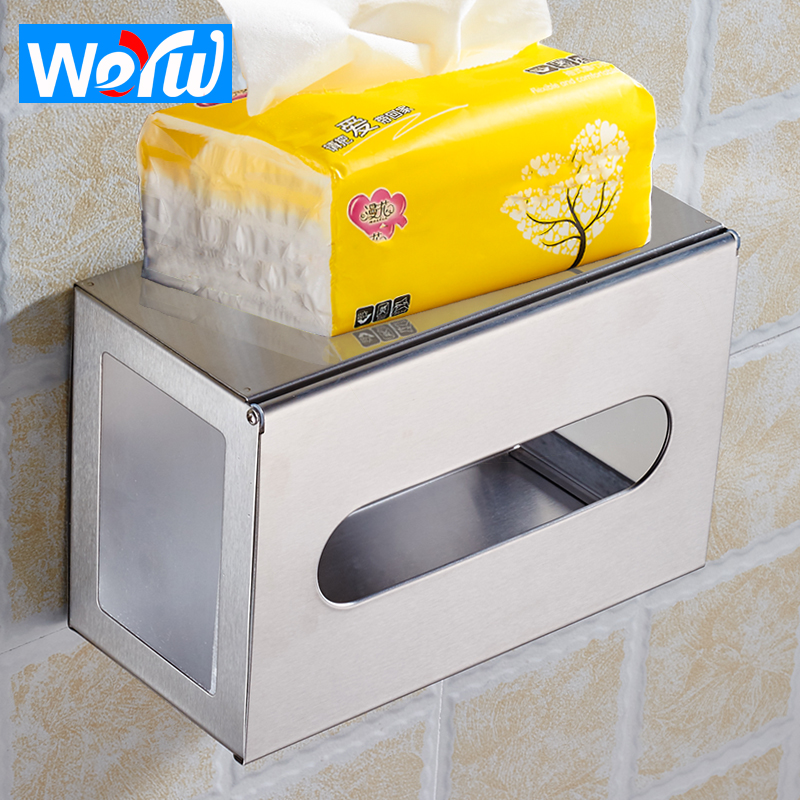 WEYUU Bathroom Paper Towel Holder Wall Mount Toilet Stainless Steel Toilet Paper Holder Office Storage Tissue Box Rectangle hole digging toilet paper basket pumping paper box space aluminum towel rack wall tissue box