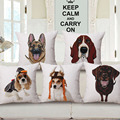Cute Husky Poodle Rottweiler dog design painting linen pillowcase Exclusive dog lovers home decorative pillow cover  /pillowcase