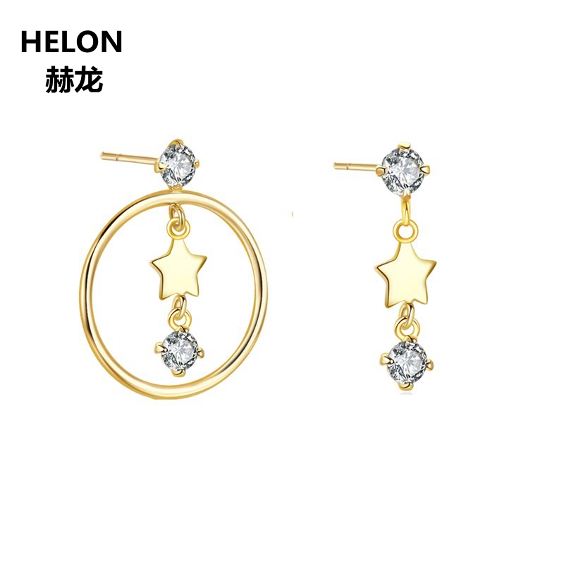 Solid 14k Yellow Gold Women Stud Earrings 3mm Round Natural White Topaz Stars Earrings starry pattern gold plated alloy rhinestone stud earrings for women pink pair