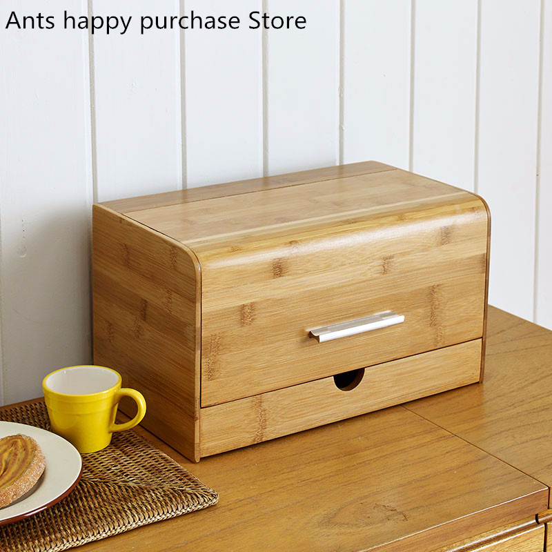 Dustproof bread box Bamboo snacks Sundries storage boxs Solid wood creative storage box With drawer Kitchen
