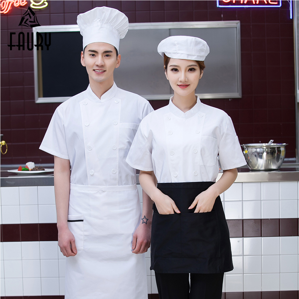 High Quality Unisex Short-sleeves Double Breasted Summer Breathable Chef Jacket Kitchen Sushi Restaurant Coffee Bar Work Uniform
