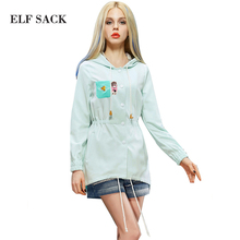 ELF SACK fashion brand new arrival 2015 summer women print long-sleeve loose drawstring trench pocket button free shipping