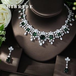 Image 1 - HIBRIDE najnowszy luksusowy Sparking Brilliant Cubic naszyjnik cyrkoniowy kolczyki ślubne biżuteria dla nowożeńców sukienka akcesoria N 988
