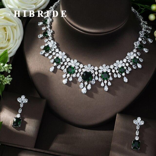 HIBRIDE najnowszy luksusowy Sparking Brilliant Cubic naszyjnik cyrkoniowy kolczyki ślubne biżuteria dla nowożeńców sukienka akcesoria N 988