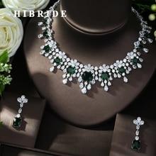 HIBRIDE pendientes y collar de zirconia cúbica con circonita, conjunto de joyería nupcial, accesorios de vestir, N 988