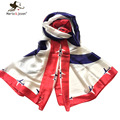 [Marte&Joven] 180*90cm Airplane Soft Silk Scarf Brand Women Fashion Shawls Blue and White Elegant Bandana Summer Cover New