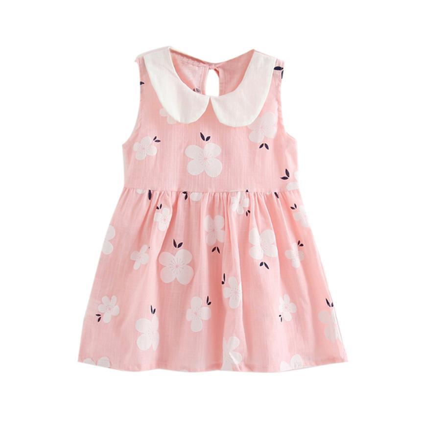 Toddler Girls Summer Princess Dress Kids Baby Party Wedding Sleeveless Dresses 18MAR15