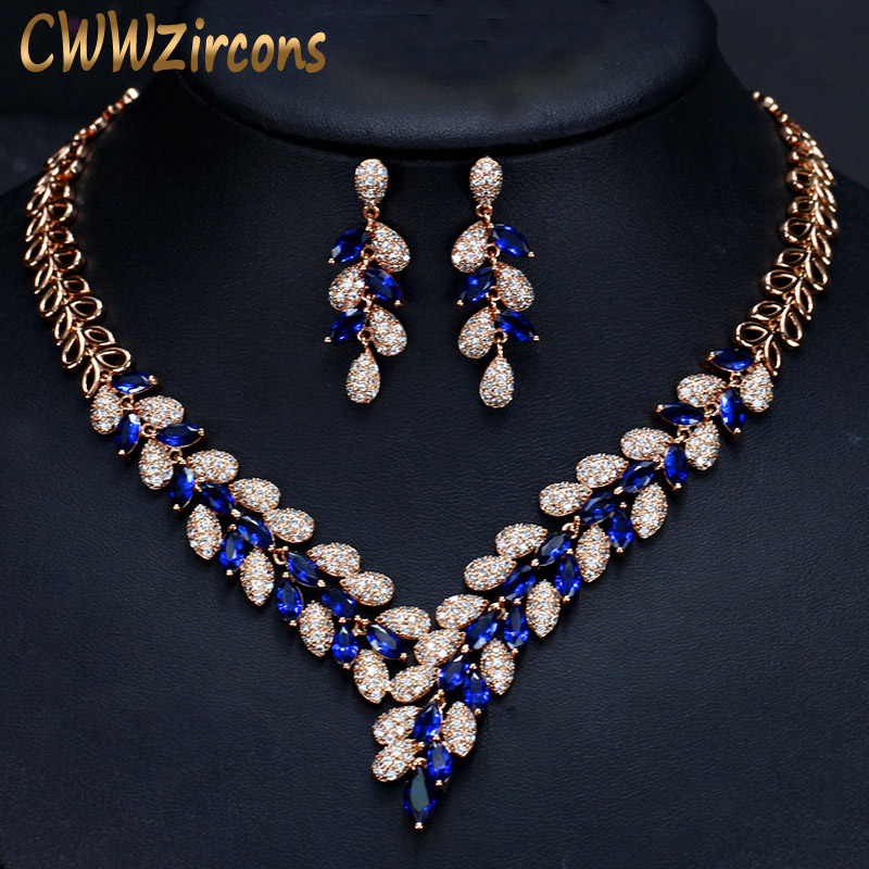 CWWZircons Nthiopian African Gold Earrings Necklace Wedding Jewelry Set Blue CZ Crystal Golden Jewellery Sets For T289