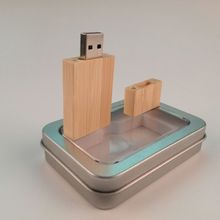 Natural Wooden Bamboo Square usb 2.0 memory flash stick pen drive with metal packing
