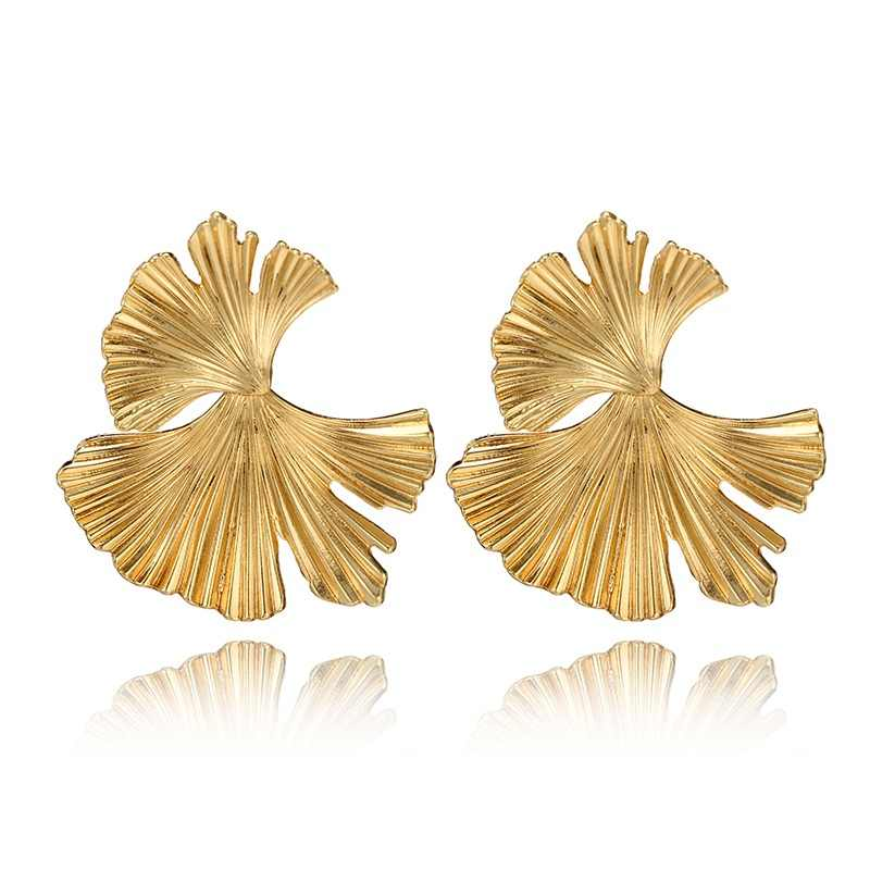 HuaTang Bohemian Geometric Gold Leaf Shape Drop Earring Pericing Earrings Womens Fashion Earring Jewelry Accessories 2620