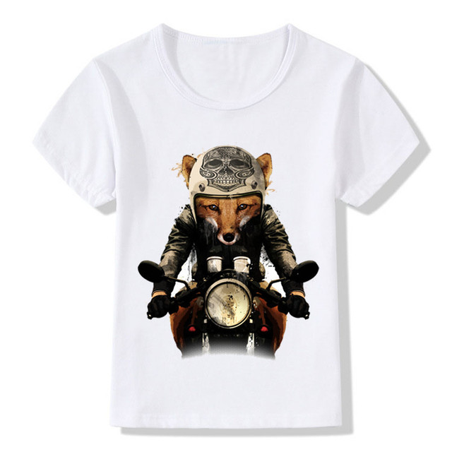 111c6a3f1 Children Fox Biker Print Funny T-shirt Baby Kids Summer Short Sleeve Tops Tees  Boys/Girls Retro Skull Head Cool Clothes,HKP2065