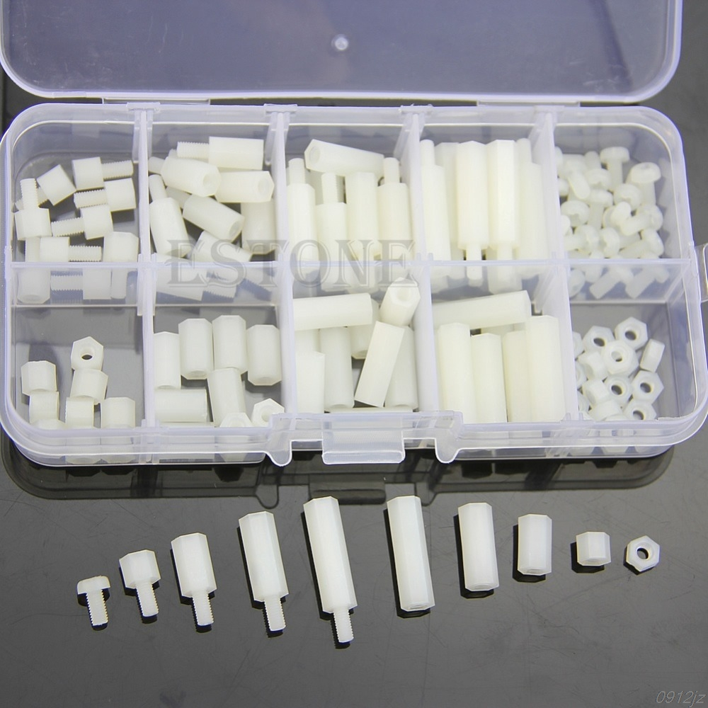 M3 Nylon Hex Spacers Screw Nut Assortment Kit Stand off Plastic Accessories Set New Drop ship