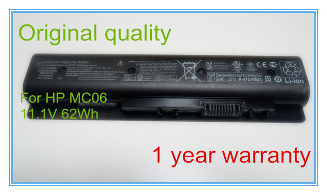 Оригинальные батареи для портативных компьютеров для 807231-001, 17-n199np (T1N15EA), TPN-C123, 805095-001, MC04, 17-r116nf, MC06, 11.1 В, 6 ячейки