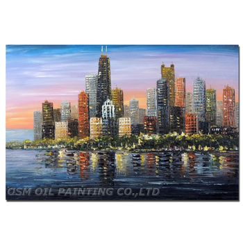 Professional Artist Pure Hand-painted Impression Chicago Skyscrapers Oil Painting on Canvas Impression Downtown Knife Painting