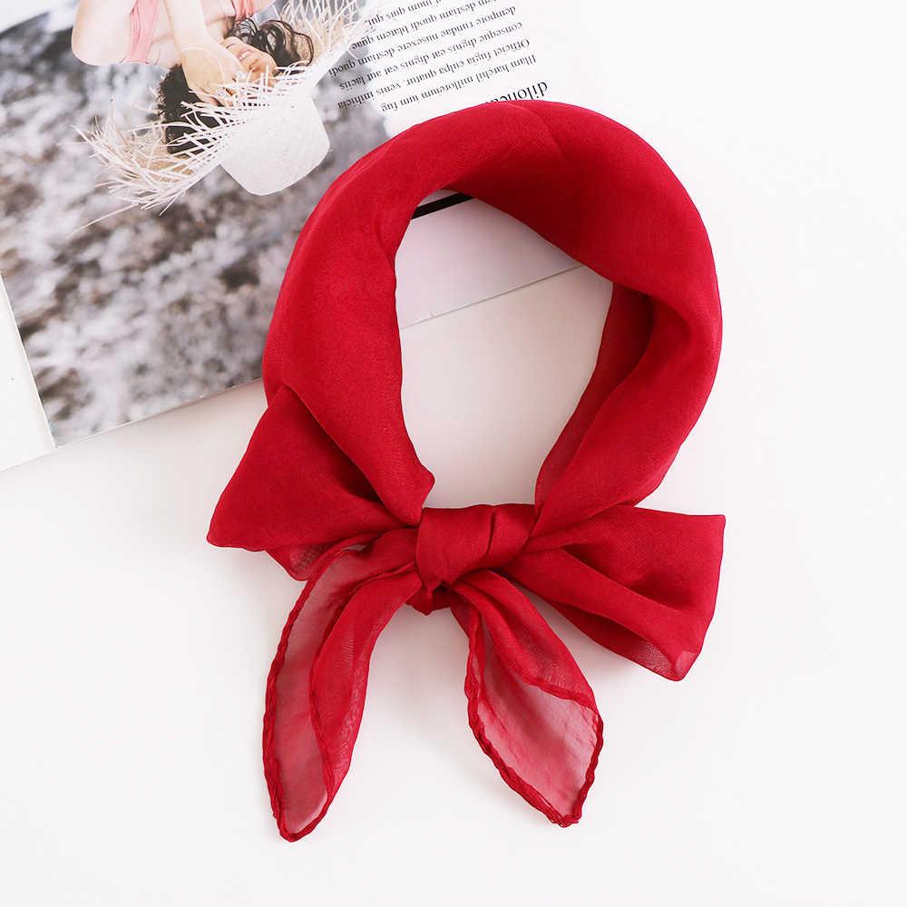 Color sólido mujer chica suave gasa seda cuadrado bufanda chal elegante cuello Retro cabeza cuello lazo banda 36 estilos