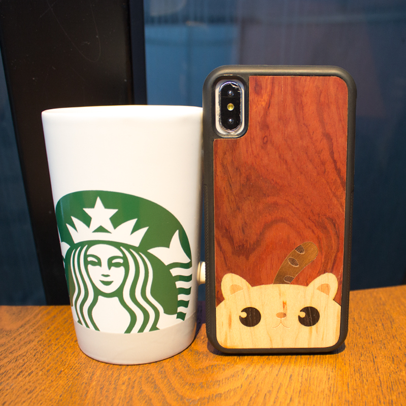 Animal panda wood phone cover original cute individual phone case for iPhone 6 s 7 8 plus X S protective screen wooden cover